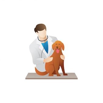 Veterinário com um cachorro