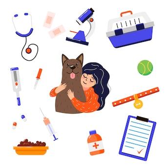 Veterinário de desenhos animados com conjunto de ilustrações de cachorro e ferramentas para crianças