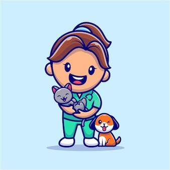 Veterinário de garota fofa com gato e cachorro