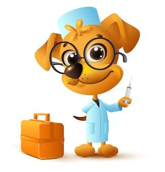 Veterinário de médico engraçado cão amarelo segurando o injetor