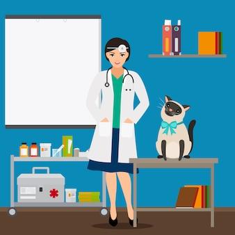 Veterinário e gato no consultório médico