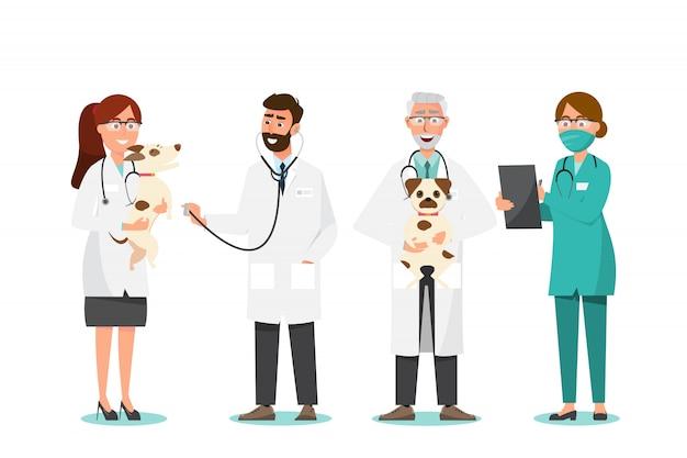 Veterinário e médico com cachorro na clínica veterinária
