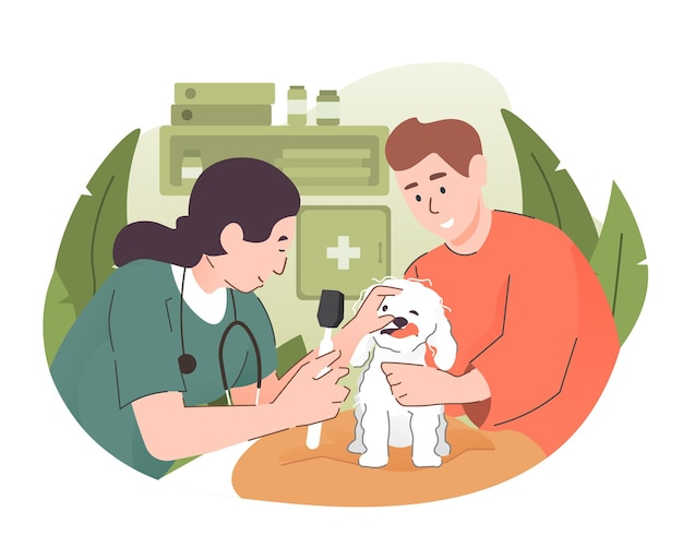Veterinário examinando um cachorro na clínica veterinária