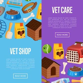 Veterinário loja banner web definida no estilo cartoon
