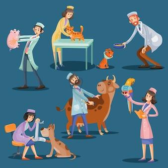 Veterinários com fofos desenhos animados de animais de estimação