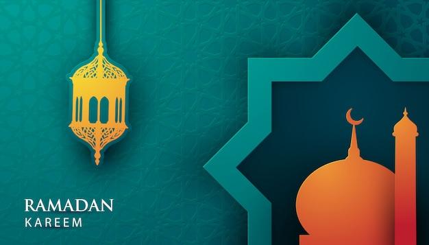 Vetor 3d papel ramadan kareem