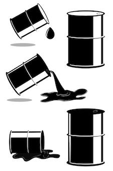 Vetor, 5 condições diferentes de barril de óleo, isolado no branco