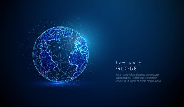 Vetor abstrato baixo poli terra globo conceito.