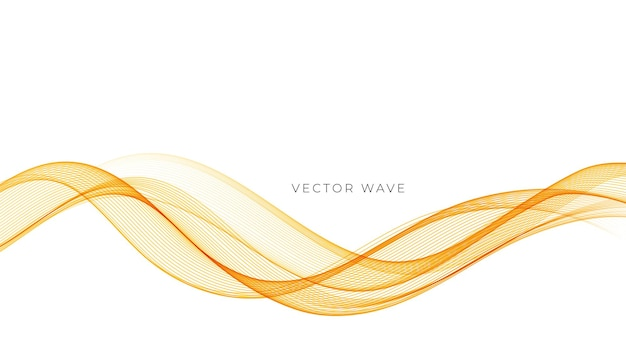 Vetor abstrato colorido fluindo linhas de onda de ouro isoladas no elemento de design de fundo branco