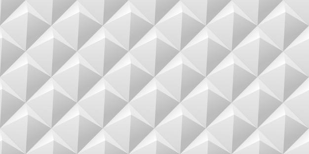 Vetor abstrato com azulejos de fundo sem emenda com pirâmides iluminadas suaves brancas.
