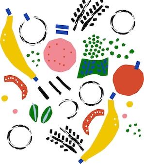 Vetor abstrato desenhado à mão banana maçã pintura pincelada doodle ilustração motivo gráfico