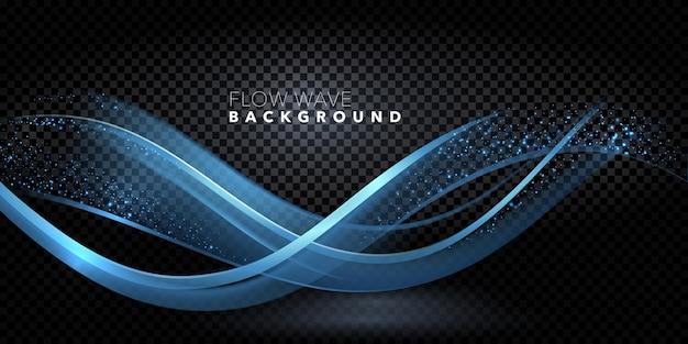 Vetor abstrato design de onda azul de cor brilhante com luzes de bokeh