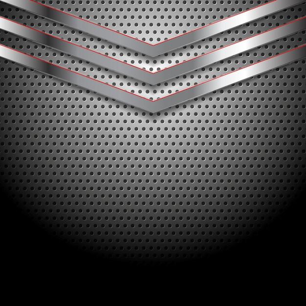 Vetor abstrato fundo metálico perfurado com setas