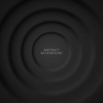Vetor abstrato fundo preto de círculos no estilo do neomorfismo.