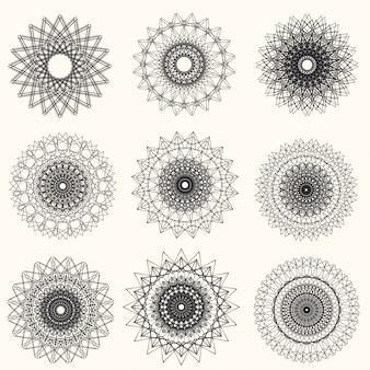 Vetor abstrato guilhoché elementos sobre fundo branco