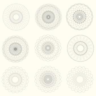 Vetor abstrato guilhoché elementos