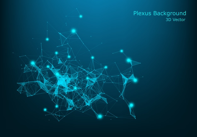 Vetor abstrato iluminado partículas e linhas. efeito do plexo. ilustração vetorial futurista. estrutura cyber poligonal com raios de luz lens flare. conceito de conexão de dados.