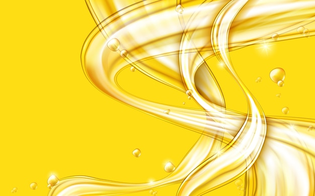 Vetor abstrato líquido fluindo dourado amarelo