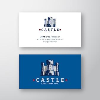 Vetor abstrato logotipo do castelo e modelo de cartão de visita fortaleza símbolo reino ícone torre silhueta ...