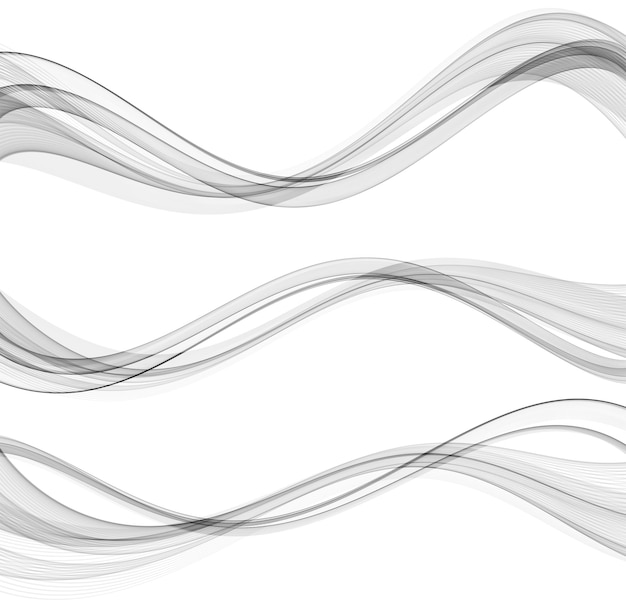 Vetor abstrato ondas fluindo linhas isoladas no elemento de design de fundo branco para ciência de tecnologia.