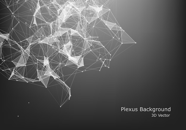 Vetor abstrato partículas e linhas. efeito plexo. ilustração futurista estrutura poligonal de cyber. conceito de conexão de dados.