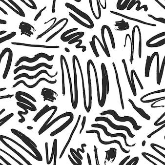 Vetor abstrato pincel preto mão desenhada sem costura padrão. textura monocromática do grunge. decoração em tinta à mão livre com pincelada. textura de impressão de papel de parede de tecido.
