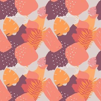 Vetor abstrato sem costura padrão colorido elementos desenhados à mão colagem de papel