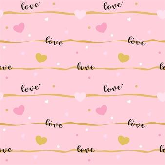 Vetor abstrato sem costura padrão de coração redação linha de amor e ponto no fundo rosa