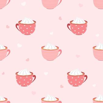 Vetor abstrato sem costura padrão de xícara de café ou chocolate quente com chantilly e mini coração