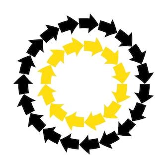 Vetor abstrato setas amarelas pretas quadro redondo.