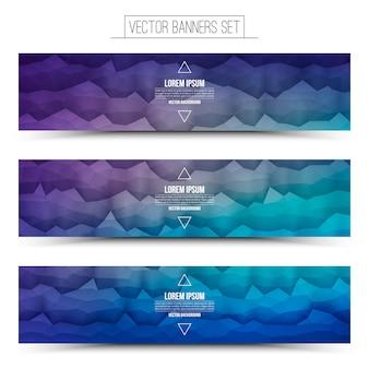 Vetor abstrato tecnologia violeta azul web banners conjunto