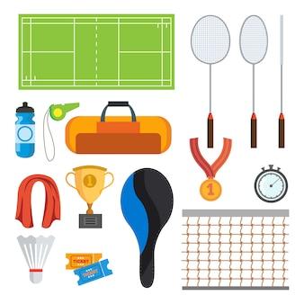 Vetor ajustado ícones do badminton. acessórios de badminton