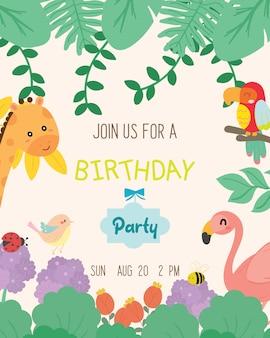 Vetor animal bonito do cartão do convite da festa de anos do tema.