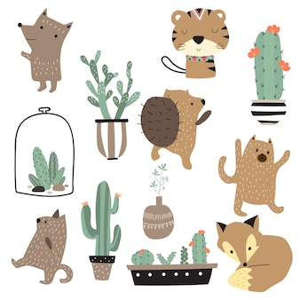 Vetor animal bonito dos desenhos animados