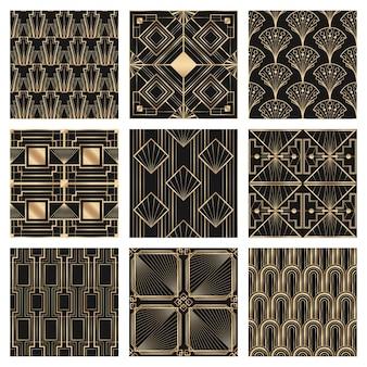 Vetor art déco definido quadro com padrões geométricos em fundo escuro