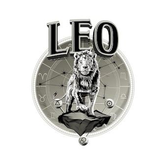 Vetor astrológico desenhado à mão arte linda linha romântica do zodíaco ilustração de leo