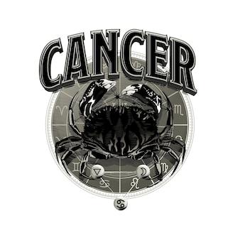 Vetor astrológico desenhado à mão arte romântica bela linha de câncer do zodíaco.