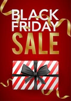 Vetor banner modelo de sexta-feira negra com caixa listrada vermelha com fita preta.