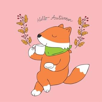 Vetor bebendo da raposa bonito do outono dos desenhos animados.