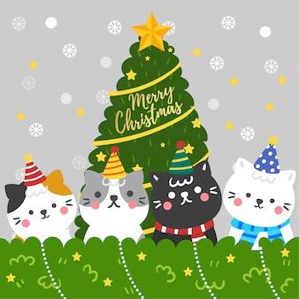 Vetor bonito da árvore e dos gatos de natal dos desenhos animados.