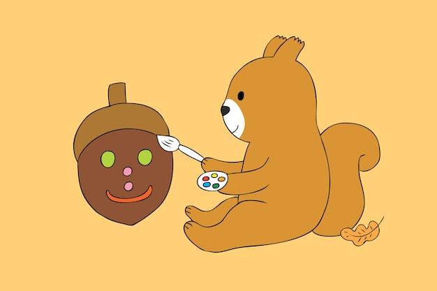 Vetor bonito da bolota da pintura do esquilo do outono dos desenhos animados.