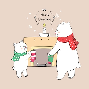 Vetor bonito da família e da chaminé do urso do natal dos desenhos animados.