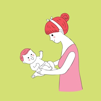 Vetor bonito da fralda da mamã e do bebê dos desenhos animados.