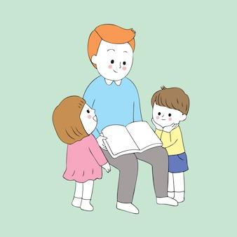 Vetor bonito da leitura do paizinho e do bebê dos desenhos animados.