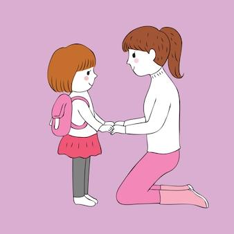 Vetor bonito da mãe e da filha dos desenhos animados.
