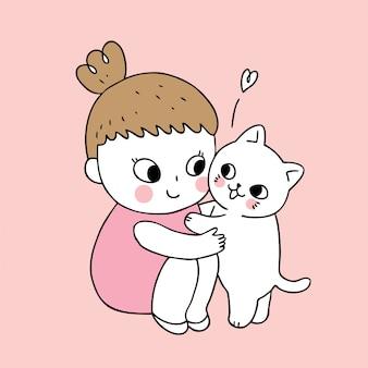 Vetor bonito da menina e do gato dos desenhos animados.