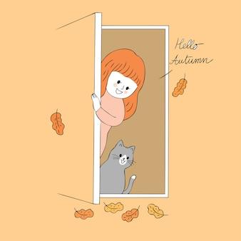 Vetor bonito da mulher e do gato do outono dos desenhos animados.