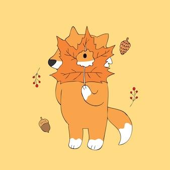 Vetor bonito da raposa e das folhas do outono dos desenhos animados.