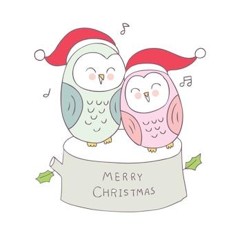 Vetor bonito das corujas do Natal dos desenhos animados.