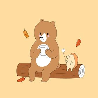 Vetor bonito de acampamento do urso e do ouriço do outono dos desenhos animados.